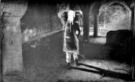 Black and white piece of a girl with an elephant head standing in castle room with crumbling archways.  Deliberately blurry and with scratches outlining the figure.