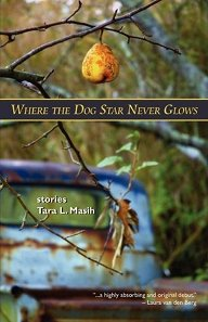Cover for Where the Dog Star Never Glows featuring a single pear hanging from a thin branch with an old truck in background